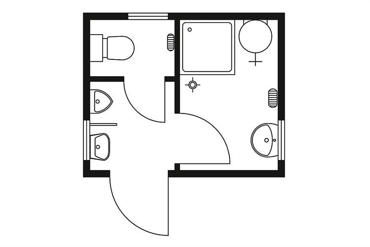 Technische Zeichnung Dusche : Hier mieten: Sanit?rmodul 3,0?2,5 m, WC, Dusche und Urinal bis 10